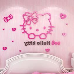 3D Hello Kitty Acrylic Wall Sticker Vinyl Decal Mural Kids B