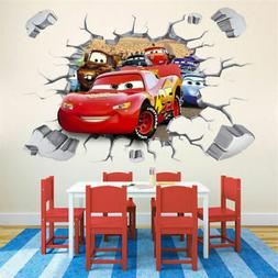 3D McQueen Cars Wall Sticker Decals for Kids Boys Nusery Roo