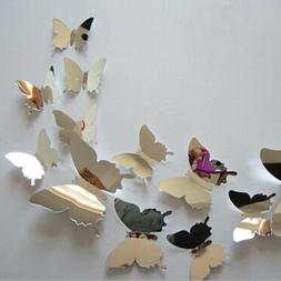 Fashion 12Pcs 3D Mirror Butterfly Decals PVC Wall Stickers V
