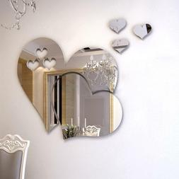3D Mirror Love Hearts Wall Sticker Decal DIY Home Room Art M