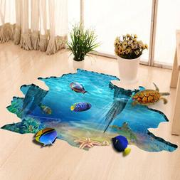 3D Ocean Fish Floor Wall Sticker Removable Mural Decals Viny