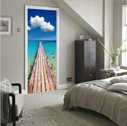 3D Seaside Wood Pier Self-adhesive Door Sticker Mural Decals