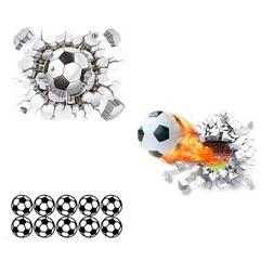 3D Soccer Ball Football Wall Sticker Decal Kids Bedroom Home