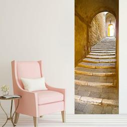 3D Stone Stairs Door Wall Mural Stickers Removable Decals fo