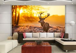 3D Sunset, deer 66 Wall Paper Print Wall Decal Deco Indoor W