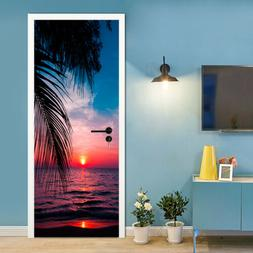 3d sunset tropical beach self adhesive bedroom