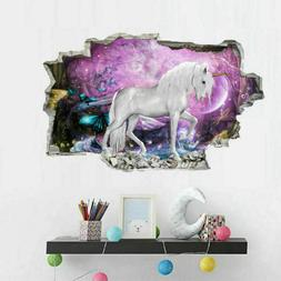 Magical 3D Unicorn Vinyl Wall Stickers Kids Living Room Nurs