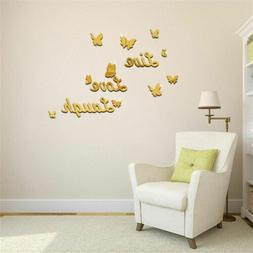 3D Wall Sticker Removable Mirror Love Butterfly Wall Decals