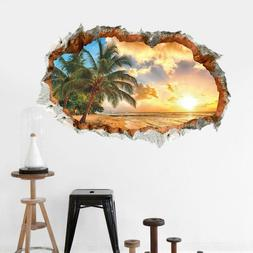 3D Wall Stickers Beach Palm Tree Window Room Decal Wallpaper