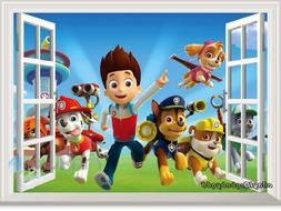 3D Window PAW Patrol Marshall Rubble kids room decals wall d