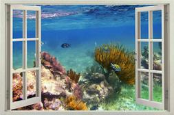 3D Window sea View Design Home Decal Decor Stickers for Wall