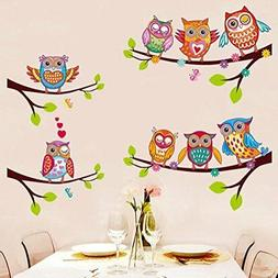 BIBITIME 4 Tree Branches 8 Owls Wall Decal Animal Flower But