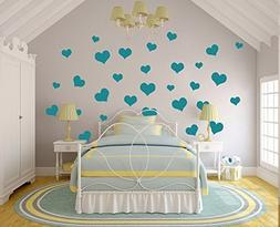 N.SunForest 40 Teal Love Hearts Vinyl Wall Decals Removable