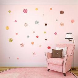 48Pcs Sweet Lovely Donut Decals Nursery Wallpaper Room Decor