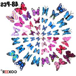 48x 3D Wall Decal Butterfly Wall Sticker Decals for Room Hom