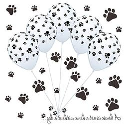 50 Dog Paw Print Balloons & Vinyl Decals Kit for Paw Patrol