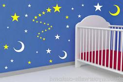 54 STARS AND MOON VINYL BEDROOM WALL DECALS STICKERS BABY KI