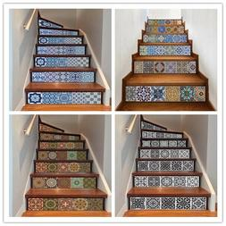 6Pcs 3D Stair Riser Staircase Stickers Mural Vinyl Wall Tile