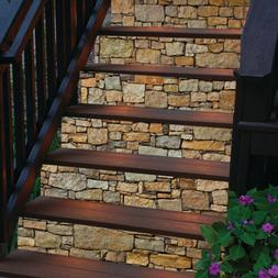 6PCS 3D Stickers Stair Brick Texture Vinyl Decal Staircase W