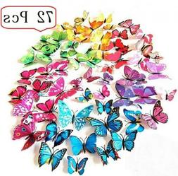 Amaonm 72 Pcs 6 Packages Beautiful 3d Butterfly Wall Decals