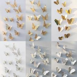 72PCS 3D Gold Silver Butterfly Wall Stickers Decals Home Roo