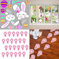 74Pack Easter Stickers Decorations Eggs Window Clings Bunny