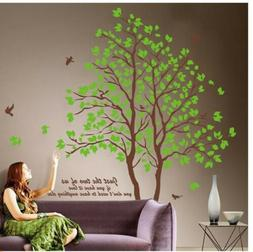 75'' Large Twins Green Tree Wall Stickers Removable Vinyl Ar