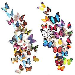 80 PCS Wall Decal Butterfly Sticker Decals for Room Home Nur