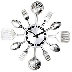 Bits and Pieces - Contemporary Kitchen Utensil Clock-Silver-