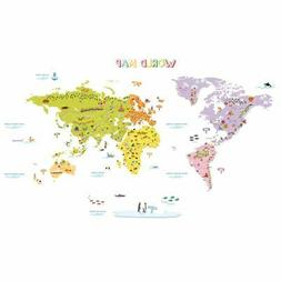 DECOWALL DMT-1306N Colourful World Map Peel and Stick Wall D