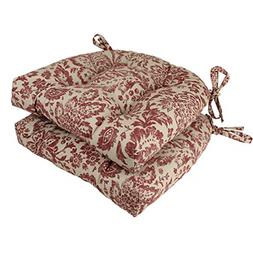 Pillow Perfect Damask Reversible Chair Pad, Red/Tan, Set of