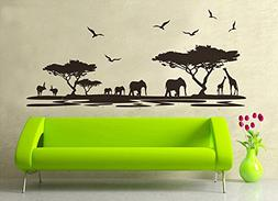 ufengke® African Grasslands Animals Black Elephant Giraffe