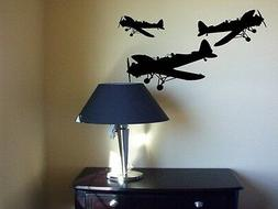airplanes double cockpit wall art decals wods