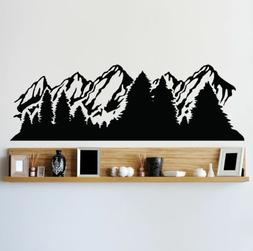 Alaska Snow Mountain and Forest View Wall Decal Sticker. #60