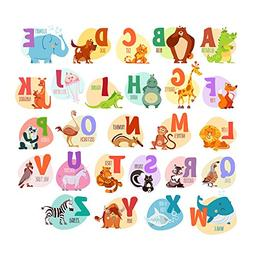 Alphabet Animals ABC Wall Decals Peel and Stick Easily Remov