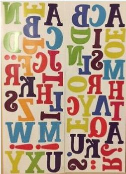 Alphabet LETTERS punctuation wall stickers 56 decals ABC pos