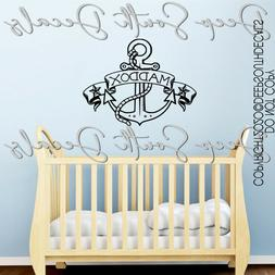 Anchor Nautical Nursery Baby Name Personalized Wall Decal Qu