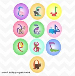 Animal number circular colour vinyl wall stickers for nurser