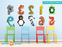 Animal Numbers Fabric Wall Decals, Colorful Numbers from 0 t