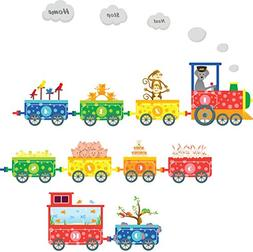 Animal Train Wall Stickers for kids Room Children Boy Bedroo