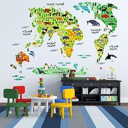 EveShine Animal World Map Peel & Stick Nursery Wall Decals S