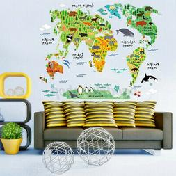 Animal World Map Wall Sticker Poster Removable Mural Decal B
