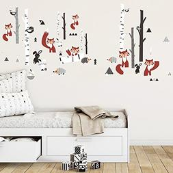 decalmile Large Animals Forest Wall Stickers Fox Tree Wall D