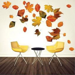 Autumn Leaves Wall Mural Decal Fall Season Brown Leaves Seas
