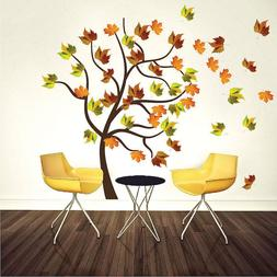 Autumn Tree Wall Decal Mural Plant Vinyl Realistic Leaves Tr