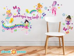 Ballerina Fabric Wall Decals with Butterflies, Musical Notes
