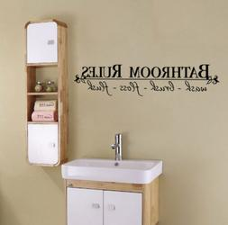 BATHROOM RULES Home Decor Wall Decals Stickers Quote BathRoo