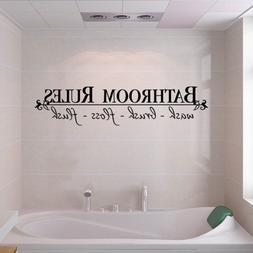 BATHROOM RULES Quote Wall Decals Bath Room Stickers Art Home