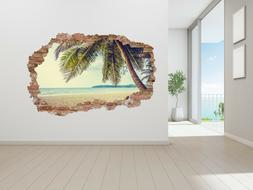 Beach Landscape Broken Wall 3D Wall Decal for Home Interior