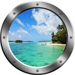 Beach Porthole Wall Decal 3D Window Nature Mural Peel And St